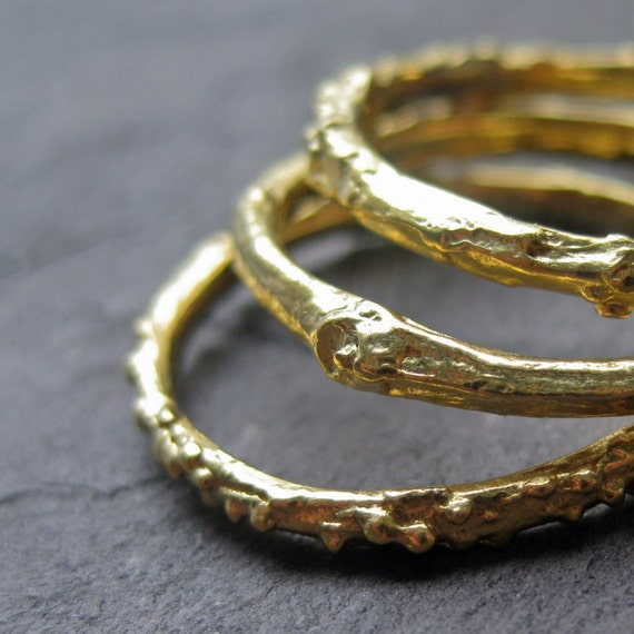 RESERVED for William: Skinny Stackable Twig Ring in 14k Yellow Gold