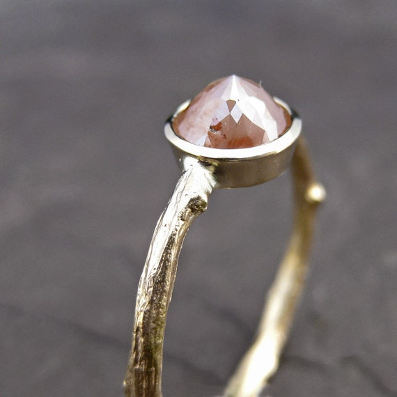 Peach Diamond Twig Ring in Yellow Gold