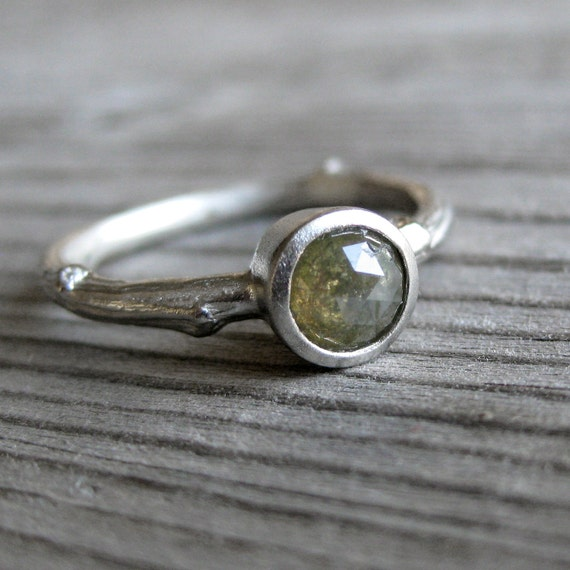 Green Rose Cut Diamond Twig Ring in White Gold