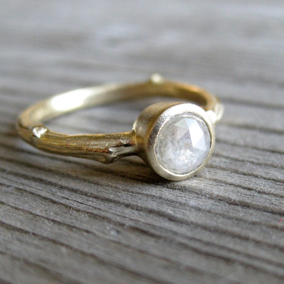 White Rustic Diamond Twig Engagement Ring in Yellow Gold
