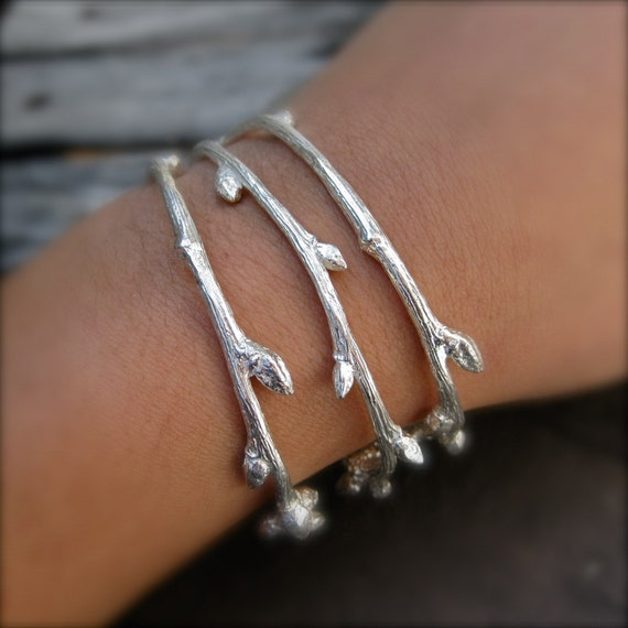 Budding Twig Cuff Bracelets - Set of 3 in Recycled Sterling