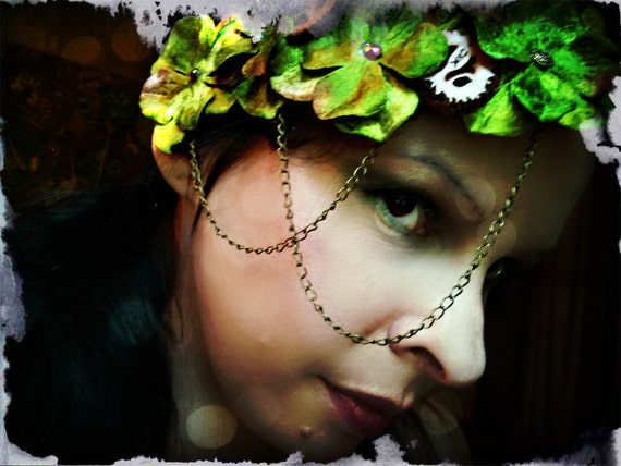 Fierce Walnut  - Sweet Olive Velvet Hydrangea and Chain Headband