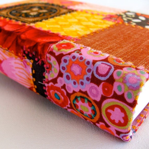 Colorful Crazy Patchwork fabric-covered handbound journal