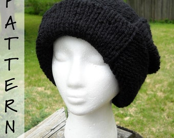 Knit Pattern - Scotty's Knit Slouchy Stocking Cap - Instant Download