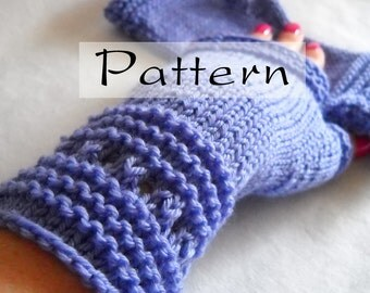 Knit Pattern - Easy Elegant Hand Knit Fingerless Gloves - Instant Download