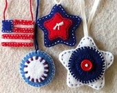 Red, white and blue felt ornies Ready to ship