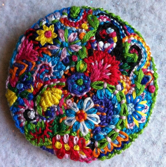 Freeform embroidery bright floral brooch