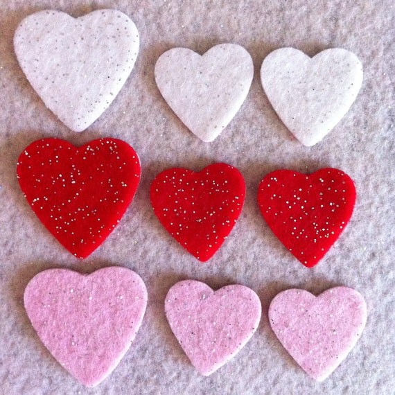 felt glitter heart stickers embellishments in red pink and white Ready to ship