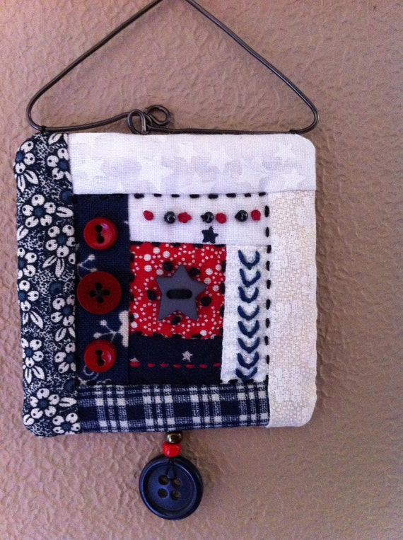 Mini quilt art wall hanging in red white and blue