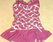 RESERVED 1940's Plaid Ruched Pin Up Girl Swimsuit Vintage 40's 50's Draped Cotton Bows Couture Bombshell Ruffle Halter Swim Suit Swimwear