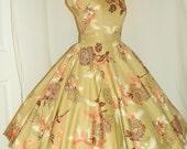 1950's ROSE Print 2 Piece Cotton Party Dress Set  Vintage 50's Rhinestone Couture Floral Novelty Cocktail Designer Dress Suit Ensemble