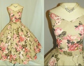 RESERVED--1950's PINK ROSE Print Cotton Cocktail Dress Set  Vintage 50's Wedding Floral Novelty Print Skirt Top Party Dress and Petti