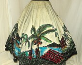 RESERVED For Sherry 1950's MEXICAN Hand Painted Tourist Skirt Vintage 50's Acapulco Mexico City Palm Tree Novelty Print Dress Skirt