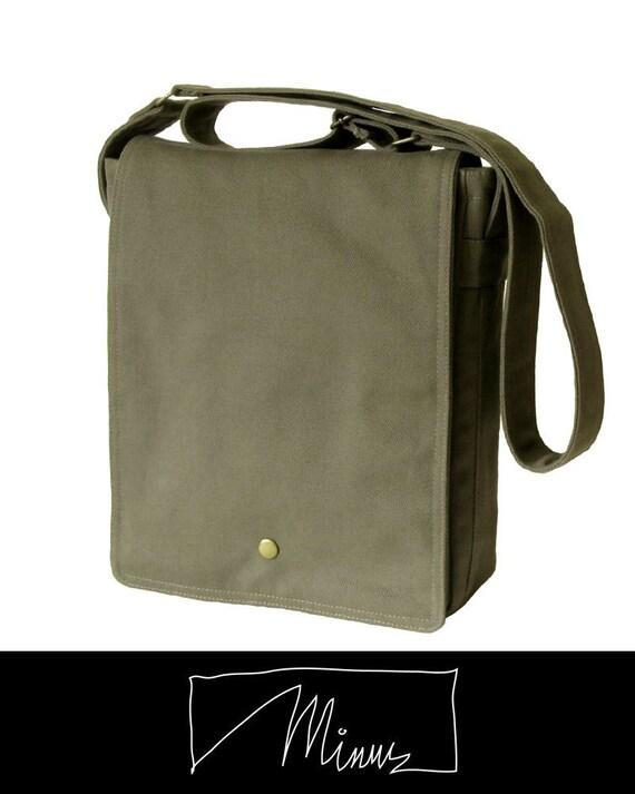 Italian Twill Messenger Bag, Shoulder Bag, Cross Body, Laptop Bag - Fern