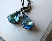 Blue Rhinestone Earrings, Estate Style Earrings Hollywood Glam Allure Sapphire Peridot Vintage Jewel Wedding Jewelry Drop Earrings