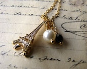 Eiffel Tower Necklace, Paris, Romantic, Gold Plated Chain, Glass Pearl, Charm