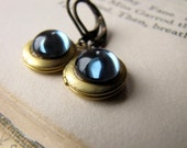 Locket Earrings, Secret Compartment, Blue Vintage Cabochons, Raw Brass
