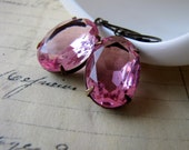 Vintage Glass Jewel Earrings, Valentines Day, Glam Allure, Rose Pink, Old Hollywood, Girly Girl
