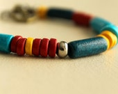 Nautical Bracelet, Ceramic Beads, Primary Colors, Anchor Charm, Red, Blue, Yellow, Summer