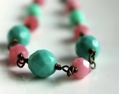 SALE, Save 40%, Pink and Mint Green Necklace, Beaded, Antiqued Brass Necklace, Candy Mints, Ice Cream Colors