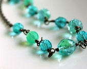 Caribbean Mist Necklace, Seafoam Green, Aqua, Teal Blue, Beaded, Antiqued Brass Necklace