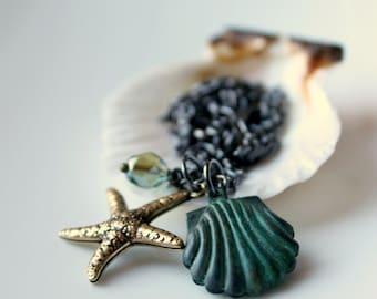 Nautical Necklace / Beach Jewelry / Brass Starfish / Verdigris Brass Shell / Memories of Seaside Vacation / Ocean Theme Charm Necklace