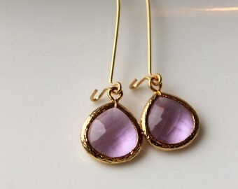 Lilac Earrings, Gold Frame Earrings, Light Purple, Gold, Elegant, Dangle Earrings, Wedding