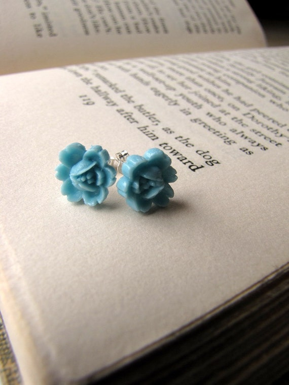 Love Blooms - Blue Rose - Sterling Silver Stud Earrings