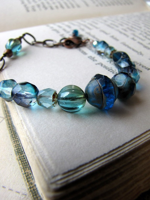 Black Friday Sale, Cyber Monday, Blue Glass Copper Bracelet, Blue Moon, Glass Beads, Adjustable Length