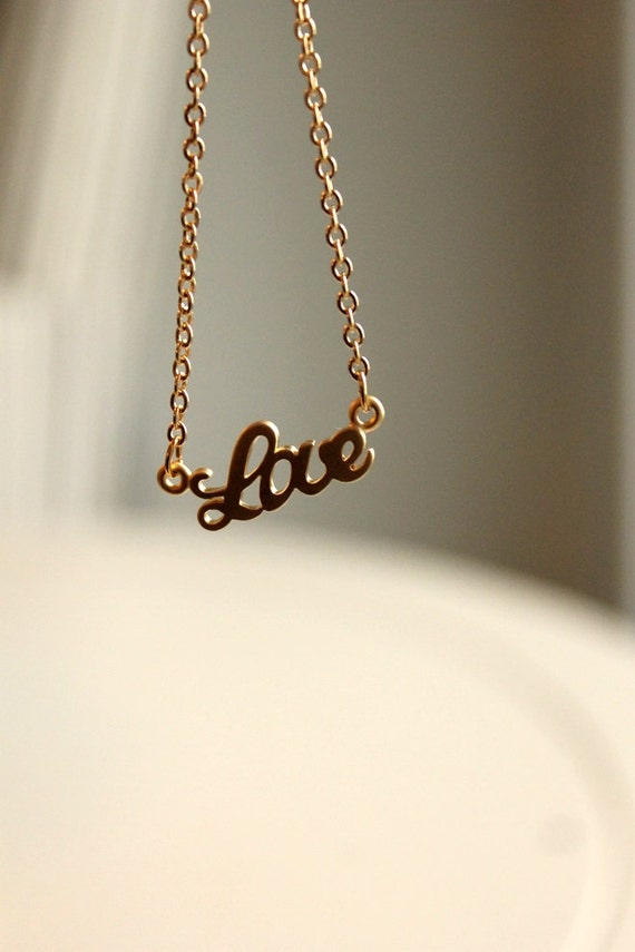 Love Necklace, Gold Plated Necklace, Delicate, Spells Love