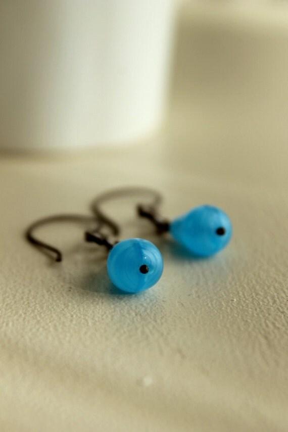 Blue Glass Earrings, Oxidized Copper, Artisan, Vintage Glass, Geometric, Teardrop, Raindrop