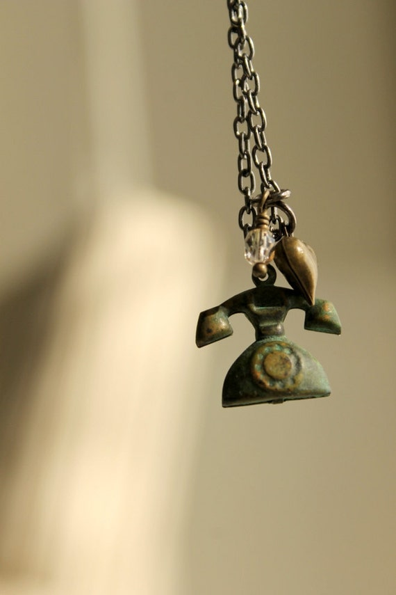 Telephone Necklace, Call Me, Charm Necklace, Heart, I Love You, Verdigris, Brass, Gunmetal