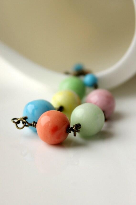 Handmade Bracelet, Vintage Glass Beads, Sherbet, Ice Cream, Pastel, Summer