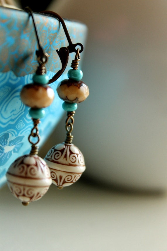 Boho Chic Earrings / Brass Dangle Earrings for the Bohemian Woman / Turquoise Brown / Vintage and Glass Bead Earrings / Boho Chic Jewelry