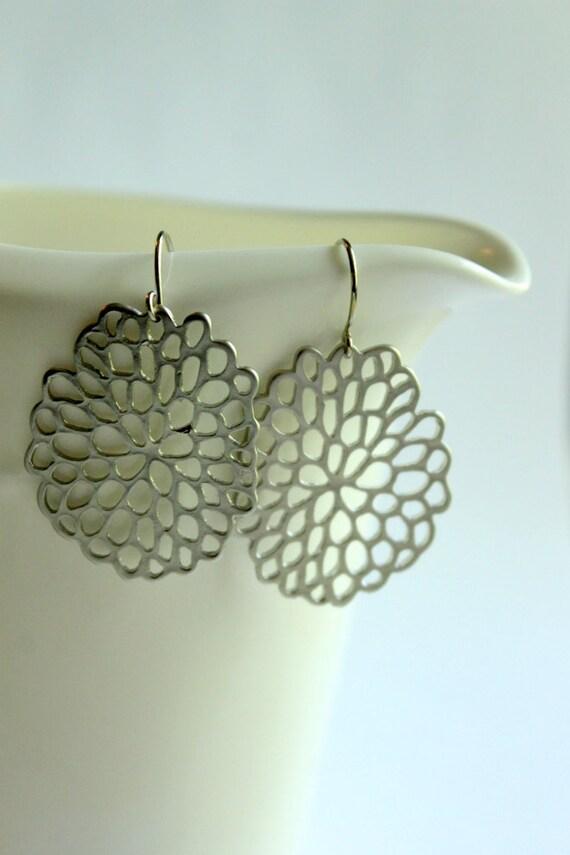 Lacey Chrysanthemum Earrings, Rhodium Plated, Flowers, Garden, Summer