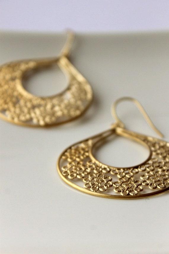 Chandelier Earrings, Lacey Fans, Gold Plated  Earrings, Filigree,