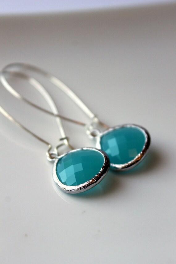 Turquoise Dangle Earrings, Silver, Elegant, Kidney Earwires, Summer
