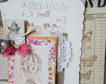 Letter Writing Set Stationery Upcycled Hand Embellished Vintage Style Kitschy Country
