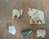 5 Carved Elephant Beads