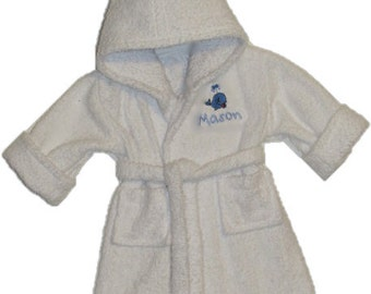 Personalized Handmade baby bathrobes.