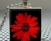 Pendant RED DAISY - Necklace Charm handmade with Scrabble Wood Tile ... Jewelry Art by Pieces Of Me Pendants