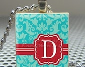 Pendant BLUE DAMASK RED Seal Initial - Necklace Charm handmade with Scrabble Wood Tile ... Jewelry Art by Pieces Of Me Pendants