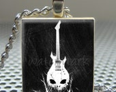 Pendant GUITAR - Necklace Charm handmade with Scrabble Wood Tile ... Jewelry Art by Pieces Of Me Pendants