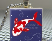 Pendant KOI - Necklace Charm handmade with Scrabble Wood Tile ... Jewelry Art by Pieces Of Me Pendants