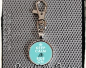 Keychain Keep Calm and RIDE ON (light blue) - Clip On Round Metal Key Chain - Key Ring - Key Holder ... handmade by Pieces Of Me Pendants