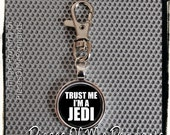 Keychain Trust ME I'm a JEDI - Clip On Round Metal Key Chain - Key Ring - Key Holder - Key Tag ... handmade by Pieces Of Me Pendants