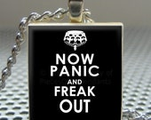 Pendant Now Panic and FREAK OUT - Necklace Charm handmade with Scrabble Wood Tile ... Jewelry Art by Pieces Of Me Pendants