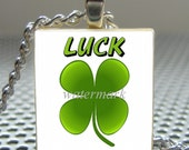 Pendant Luck FOUR LEAF CLOVER - Necklace Charm handmade with Scrabble Wood Tile ... Jewelry Art by Pieces Of Me Pendants