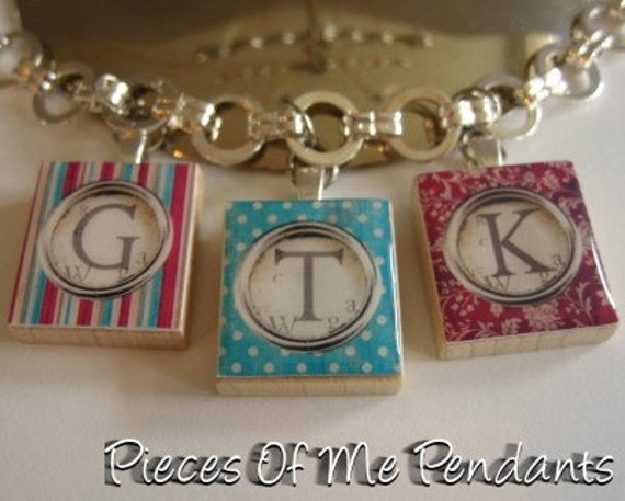 Pieces Of Me Pendants ...... Scrabble Tile Charm Bracelet ......  YOUR CHOICE