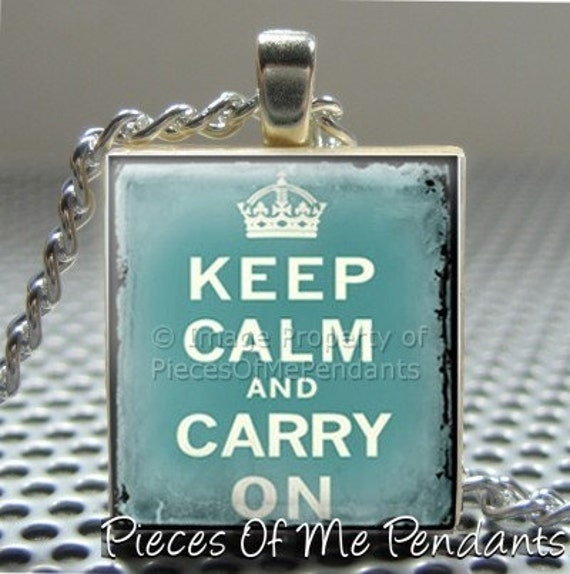 Pieces Of Me Pendants ...... Scrabble Tile Pendant ......  GRUNDGE AQUA KEEP CALM AND CARRY ON